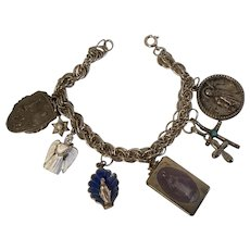 Sterling Silver Charm Bracelet with Eight (8) Religious Charms
