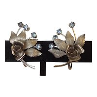 Karu Arke vintage screw back silvertone earrings with rose and blue rhinestones