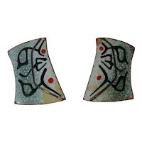 Vintage Signed Engstrom copper and enamel mid-century modernist earrings