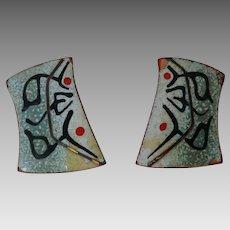 Vintage Signed Engstrom copper and enamel mid-century modernist earrings