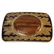Dress Belt Buckle with Beautiful Wood Embellishment