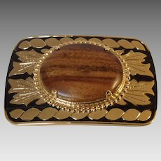Dress Belt Buckle with Beautiful Wood Embellishment