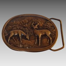 Indiana Metal Craft Belt Buckle with High Relief Deer in Mountains