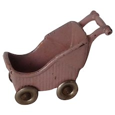 Kilgore Cast Iron Dollhouse Miniature Baby Buggy