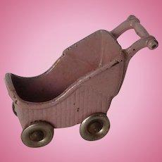 Kilgore Cast Iron Dollhouse Miniature Baby Buggy