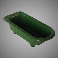 Kilgore Cast Iron Dollhouse Miniature Green Bath Tub
