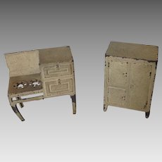 Pot Metal French Dollhouse Stove and Ice Box