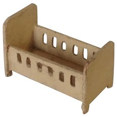 German Miniature Wooden Dollhouse Crib or Cradle