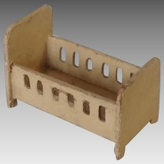 German Miniature Wooden Dollhouse Crib or Cradle