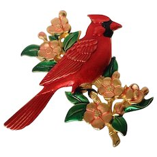 Cardinal Bird on Branch Pin Marked JJ