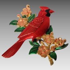 Cardinal Bird on Branch Pin Marked JJ