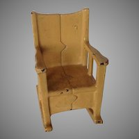 Kilgore Cast Iron Dollhouse Miniature Yellow Rocking Chair