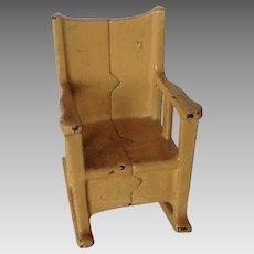 Kilgore Cast Iron Dollhouse Miniature Yellow Rocking Chair