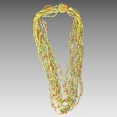 Vintage multi-colored seed bead necklace Japan