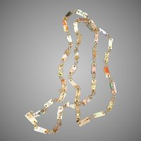 Iridescent Abalone long chain necklace