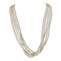 Vintage 5-Strand simulated pearl choker length necklace.