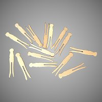 15 Miniature Wooden Clothes Pins for Doll Clothes