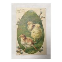 1908 An Easter Greeting with Chicks Printed in Bavaria