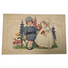 Unused Mary Evans Price Easter Postcard with Children