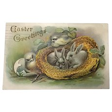 1911 Easter Greetings with Chicks and Bunnies in a Straw Hat