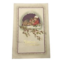 1912 Joyous Easter Postcard Germany with Girl hugging large Bunny