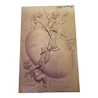 1908 Air Brushed and Embossed Purple Easter Greetings