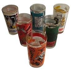 Set of 6 Vintage 1960's Travel Themed Beverage Glasses