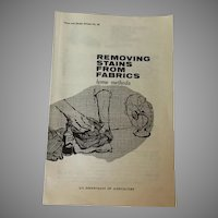 Removing Stains from Fabrics Home Methods USDA Consumer Service 1968