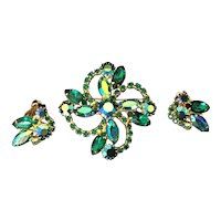 Iridescent Green  Rhinestone Pin and Earring Demi-Parure