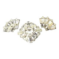 Austrian Baguette Rhinestone Pin and Earring Demi-Parure