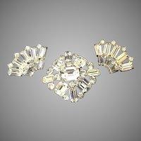 Austrian Baguette Rhinestone Pin and Earring Demi-Parure