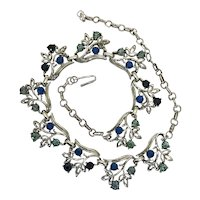 Blue Rhinestone Choker Length Necklace in white metal setting. Japan