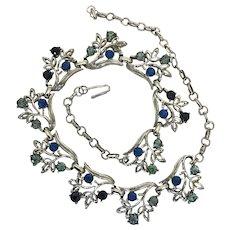 Blue Rhinestone Choker Length Necklace in white metal setting. Japan