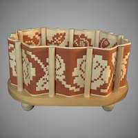 Vintage wooden basket with thread-work sides