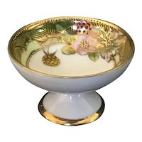 Porcelain footed salt dip with gold moriage embellishment