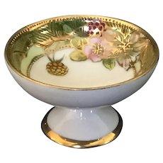 Porcelain footed salt dip with gold moriage embellishment