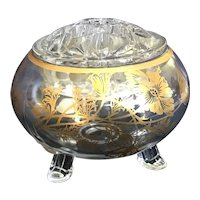 Silver City Glass 22K Gold on Crystal Footed Flower Bowl and Flower Frog