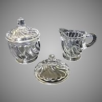 Toy EAPG Twist pattern creamer and lidded sugar by Albany Glass with spare lid included