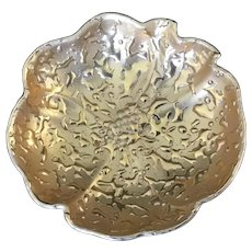 Vintage 22K Weeping Gold Round Dish