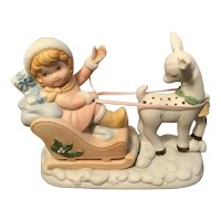 Summit Fine Porcelain Figurine Girl in Sleigh c1987
