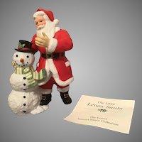 1999 Lenox Annual Santa Porcelain Sculpture Santa and Snowman with COA