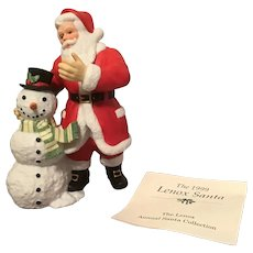 1999 Lenox Annual Santa Porcelain Sculpture Santa and Snowman with COA