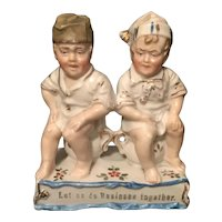 German Bisque Hand Painted Risqué Figurine Two Boys on Chamber Pots. Let us Do Business Together
