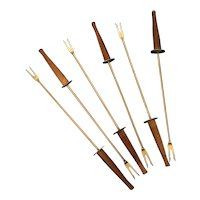 Set of 6 vintage teak wood and stainless steel Fondue Forks  Japan