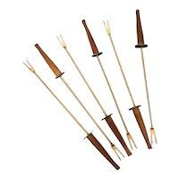 Set of 6 vintage teak wood and stainless steel Fondue Forks  Japan