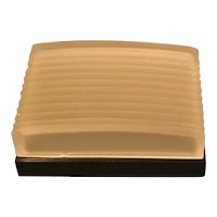 Hickok gentleman's dresser box with fluted satin glass lid and plastic base