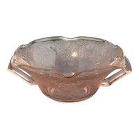 Pink Florentine #1 or Poppy #1 Ruffled Edge Handled Cream Soup Bowl