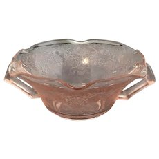 Pink Florentine #1 or Poppy #1 Ruffled Edge Handled Cream Soup Bowl
