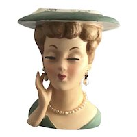 Lovely Lady in Green Head Vase