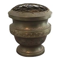 Vintage Brass Etched and Stained Flower Vase with Frog